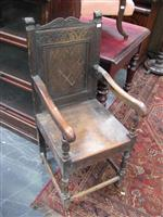 Sale 7919A - Lot 1706 - 17 Century Style Carved & Inlaid Oak Wainscot Chair