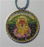 Sale 8036A - Lot 374 - SILVER FRAMED INDIAN MINATURE; circular minature of Ganesh to plaited leather collar, diamter 7cm