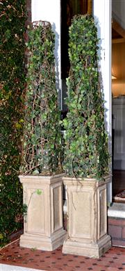 Sale 8088A - Lot 4 - Pair of Faux tapering ficus on faux stone base of obelisk form. Height 150cm