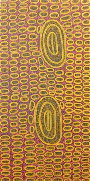 Sale 8413A - Lot 5022 - Ngoia Pollard Napaltjarri (c1940 - ) - Father's Country 141 x 70cm (framed & ready to hang)