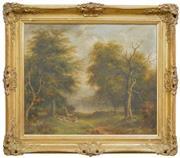 Sale 8274 - Lot 584 - James Howe Carse (c1819 - 1900) - Untitled, 1865 (Deers by the Lake) 48.5 x 59cm