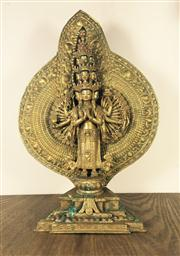 Sale 8298 - Lot 50 - Chinese gilt bronze one hundred hands standing Guanyin figurine, H. 39cm