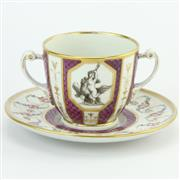 Sale 8356 - Lot 18 - Coalport Early 19th Century Double Handled Cup & Saucer