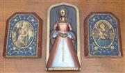 Sale 8470H - Lot 351 - A boxed Marcus replica of a medieval relief Anne Boleyn, together with two timber painted Icons
