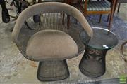 Sale 8528 - Lot 1064 - Warren Platner Armchair and Side Table by Knoll International