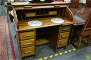 Sale 8523 - Lot 1015 - Roll Top Desk With Six Drawers