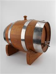 Sale 8532W - Lot 50 - Good Quality Oak & Stainless Steel Port Barrel on Stand (5lt. capacity)