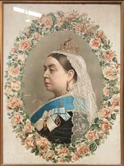 Sale 8666 - Lot 1013 - 19th Century Chromolithograph of Queen Victoria, either for her 50th or 60th jubilee reign, the portrait within allegorical English...