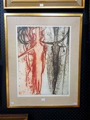 Sale 8671 - Lot 2011 - Kees Hos - Lace, 1964, colour etching, 68.5 x 55.5cm (frame size), signed lower right