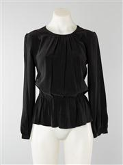 Sale 8740F - Lot 156 - A Zimmermann black peplum blouse in raw silk with lace back panel, size 0