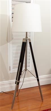 Sale 8863H - Lot 98 - A height adjustable surveyors floor lamp with cream linen shade