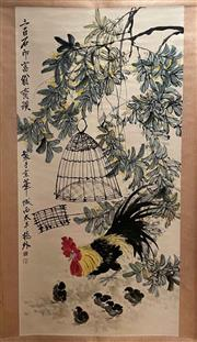 Sale 8980S - Lot 621 - Chinese Scroll of a Chicken in Foilage, Ink and Colour on Paper