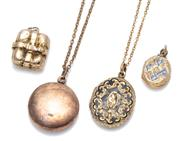 Sale 9037 - Lot 312 - FOUR ANTIQUE GOLD LOCKETS; a 15ct book 25.5 x 17mm, some damage, wt. 4.13g, a 9ct 23mm plain round in rose gold and an oval with blu...
