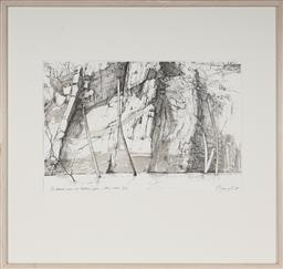Sale 9101 - Lot 2009 - Artist Unknown The Drowned Palms at Cleopatras Gate - Lake Julius QLD ink and wash on paper 36 x 55 cm (frame: 74 x 79 x 3 cm) sign...