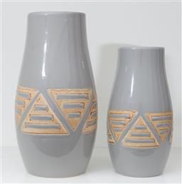 Sale 9150H - Lot 42 - A pair of graduating grey ceramic vases with triangular designs, height of taller 25.5cm