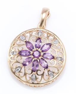 Sale 9194 - Lot 554 - A 9CT GOLD AMETHYST AND DIAMOND CLUSTER ENHANCER PENDANT; 44mm wide pierced disc with central cluster of round and navette cut ameth...