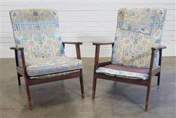 Sale 9188 - Lot 1517A - Pair of vintage timber framed armchairs, some damage to cushions (h:90 w:66 d:72cm)