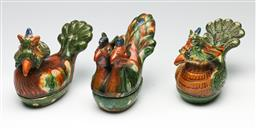 Sale 9209V - Lot 73 - Tang style bird containers (3) (W: 17cm & 15cm)