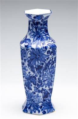 Sale 9253 - Lot 125 - A Foresters Ltd blue and white flower themed vase (H:30cm)