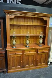 Sale 8035 - Lot 1012 - `Timber 2 Piece Wall Unit w 3 Doors & Drawers