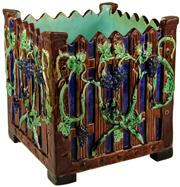 Sale 8065 - Lot 44 - French Majolica Picket Fence Jardinière