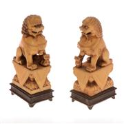 Sale 8132B - Lot 420 - Pair of Ivory Dogs of Fo on carved timber bases