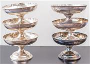 Sale 8279A - Lot 45 - A set of six heavy gage silver plate clover leaf footed bowls, diameter 24cm