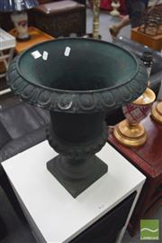 Sale 8326 - Lot 1482 - Pair of Green Cast Iron Urns
