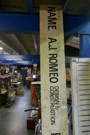 Sale 8362 - Lot 2123 - Large Timber Sign