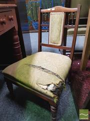 Sale 8455 - Lot 1050 - A late Victorian nursing chair with padded back and seat on turned legs ( Damage to Upholstery)