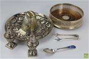 Sale 8512 - Lot 95 - HMSS Coaster, Coronation Tongs & salt and Pepper Together With 925 Mexican Silver Sombrero