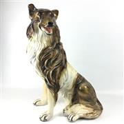 Sale 8545N - Lot 233 - Plaster Border Collie Dog Statue, minor A/F to paw (H: 65cm)