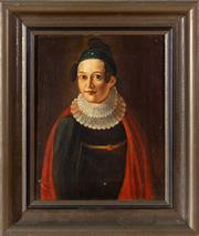 Sale 8562A - Lot 223 - Artist Unknown, Continental School - Portrait of a Lady with an Earring 31 x 25cm