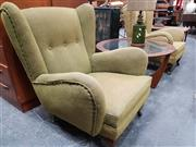 Sale 8741 - Lot 1054 - Pair of Vintage Green Wing Back Armchairs