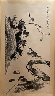 Sale 8980S - Lot 645 - Chinese Scroll of Birds and Flowers, Ink and Colour on Paper