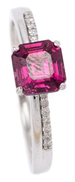 Sale 9132 - Lot 578 - A 9CT WHITE GOLD GARNET AND DIAMOND RING; featuring a square emerald cut purple garnet of approx. 1.48ct above shoulders set with a...