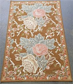 Sale 9151 - Lot 1017 - Cabbage roses tobacco tapestry by Robyn Cosgrove (177 x 122cm)