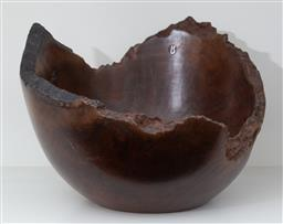 Sale 9150H - Lot 41 - A burr wood fruit bowl, marked Tawaya to base, Diameter 30cm