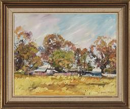 Sale 9163 - Lot 2048 - MURRAY THOMPSON (1962 - ) Cottage at Port Stephens, 1987 oil on board 39 x 49 cm (frame: 53 x 63 x 4 cm) signed and dated lower right