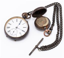 Sale 9180E - Lot 161 - A vintage Swiss pocket watch on chain with a sovereign case attachment