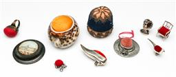 Sale 9190 - Lot 19 - Set of various pin cushions incl. sterling silver examples