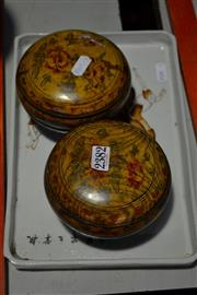 Sale 7982 - Lot 43 - Chinese Painted Tray & 2 Lidded Nut Bowls