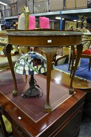 Sale 8035 - Lot 1043 - Timber Demi Lune Hall Table w Glass Top