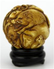 Sale 8096 - Lot 38 - Ivory Carved Late Qing Chinese Zodiac Ball