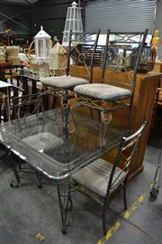 Sale 8115 - Lot 1177 - Wrought Iron Dining Suite incl. Glass Top Table & Four Chairs
