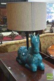Sale 8291 - Lot 1020 - Turquoise Glaze Ceramic Lamp, of a resting horse with cream shade