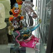 Sale 8306 - Lot 48 - Murano Art Glass Clown Dish with Other Glass incl Stallion Bust