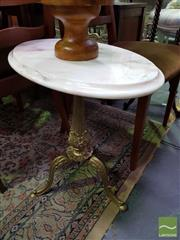 Sale 8545 - Lot 1046 - Oval Marble Top Wine Table on Brass Three Legged Base