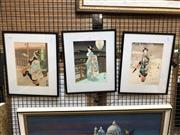 Sale 8779 - Lot 2056 - Set of 3 Japanese Woodblocks of Geishas