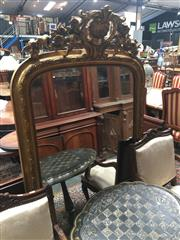 Sale 8882 - Lot 1065 - 19th Century French Gilt Overmantle Mirror, surmounted by scroll work & shell, with lens-bead frame (171 x 92cm)